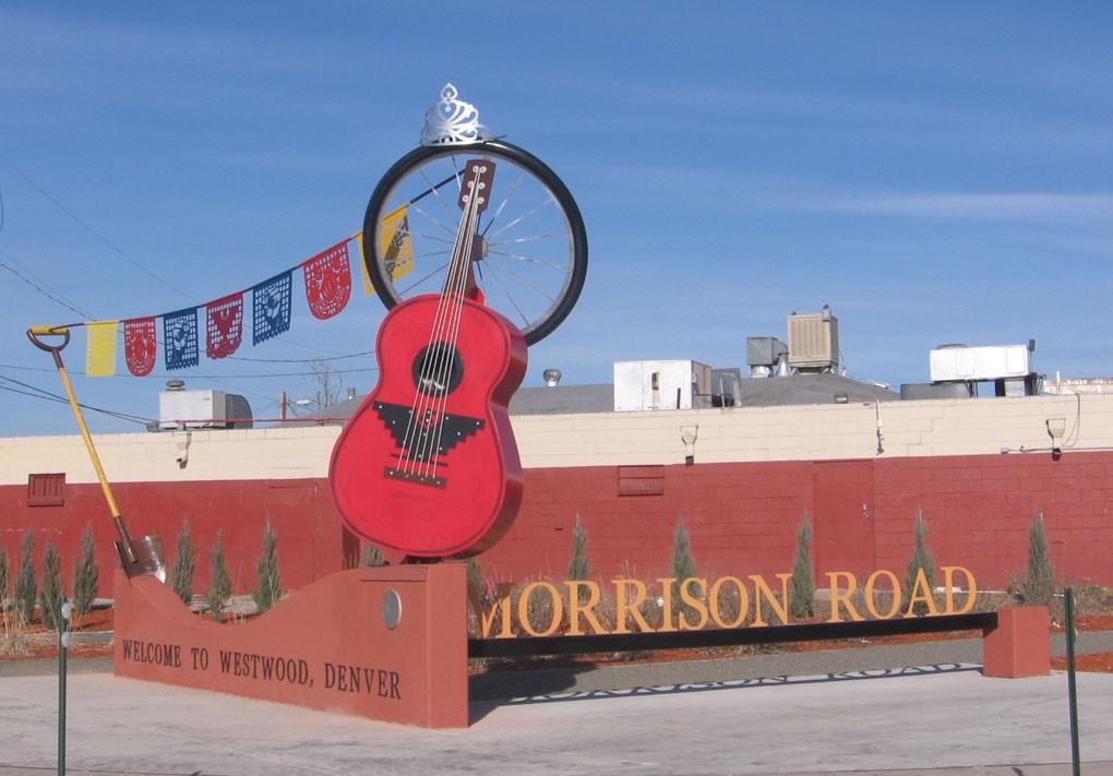 Giant guitar in a Denver neighborhood