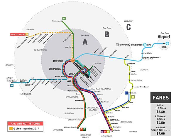 RTD Denver Rail System Map