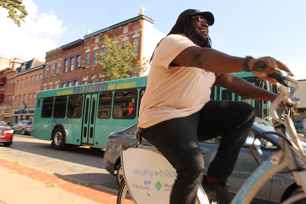 Healthy Ride bike and Port Authority bus