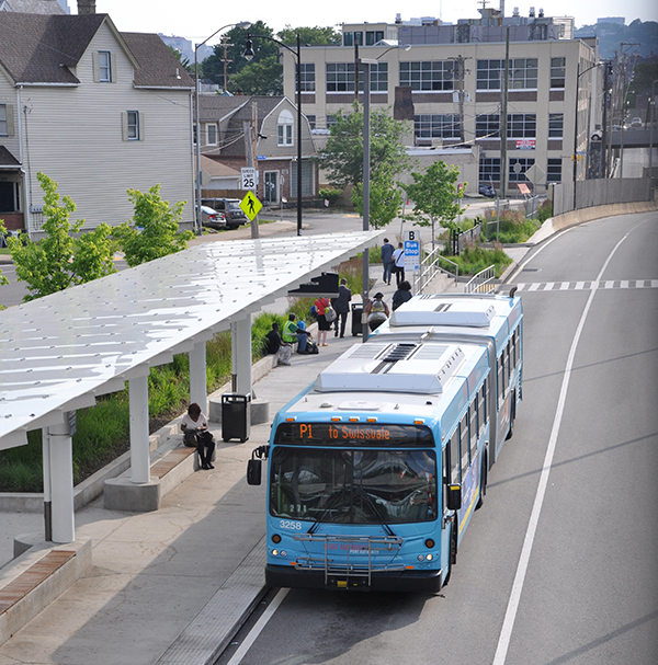Bus at East Liberty station