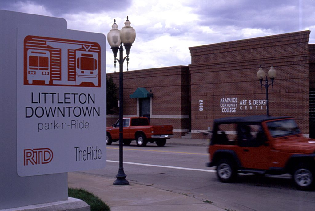 Downtown Littleton, CO, with RTD Park-n-Ride sign